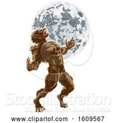 Vector Illustration of Full Moon Werewolf Scary Horror Monster by AtStockIllustration