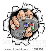 Vector Illustration of Gamer Hand and Video Game Controller Breaking Wall by AtStockIllustration