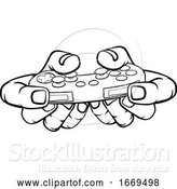 Vector Illustration of Gamer Hand Holding Video Gaming Game Controller by AtStockIllustration