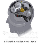 Vector Illustration of Gear Cogs Inside a Human Head by AtStockIllustration