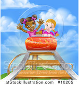 Vector Illustration of Girls on a Roller Coaster Ride, Against a Blue Sky with Clouds by AtStockIllustration