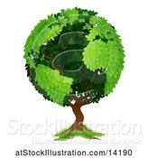 Vector Illustration of Globe Tree with Continents by AtStockIllustration