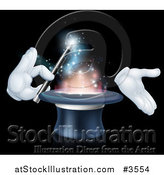 Vector Illustration of Gloved Hands Performing a Magic Trick in a Hat by AtStockIllustration