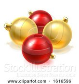 Vector Illustration of Gold and Red Christmas Bauble Balls Ornaments by AtStockIllustration
