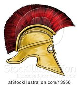 Vector Illustration of Gold and Red Spartan Helmet by AtStockIllustration