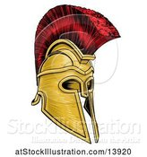 Vector Illustration of Gold and Red Trojan Spartan Helmet by AtStockIllustration