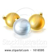 Vector Illustration of Gold and Silver Christmas Bauble Balls Ornaments by AtStockIllustration
