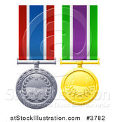 Vector Illustration of Gold and Silver Military Style Medals on Ribbons by AtStockIllustration