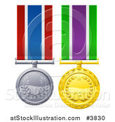 Vector Illustration of Gold and Silver Military Style Medals on Striped Ribbons by AtStockIllustration