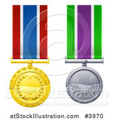 Vector Illustration of Gold and Silver Star and Wreath Medals on Ribbons by AtStockIllustration