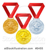 Vector Illustration of Gold Bronze and Silver Placement Award Winner Medals on Red Ribbons by AtStockIllustration