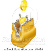 Vector Illustration of Gold Coins Falling into a Yellow Coin Purse by AtStockIllustration