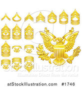 Vector Illustration of Gold Military American Army Enlisted Rank Insignia Icons by AtStockIllustration