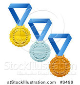 Vector Illustration of Gold Silver and Bronze Laurel Award Medals on Blue Ribbons by AtStockIllustration