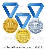 Vector Illustration of Gold Silver and Bronze Placement Award Medals on Blue Ribbons by AtStockIllustration