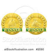 Vector Illustration of Golden Cat and Dog Pet Award Medals by AtStockIllustration
