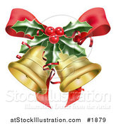 Vector Illustration of Golden Christmas Bells, a Red Bow and Sprig of Holly by AtStockIllustration