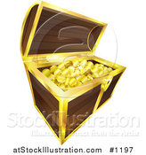 Vector Illustration of Golden Coins, Pirate's Booty, Sparkling in a Wooden Treasure Chest with Golden Trim, Isolated on a White Background by AtStockIllustration