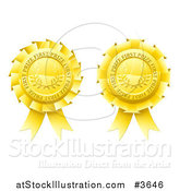 Vector Illustration of Golden First Price Medal Rosettes by AtStockIllustration