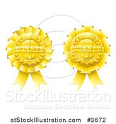 Vector Illustration of Golden Winner Award Ribbon Medals by AtStockIllustration