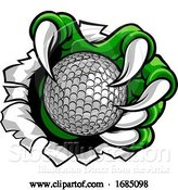 Vector Illustration of Golf Ball Claw Monster Sports Hand by AtStockIllustration