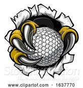 Vector Illustration of Golf Ball Eagle Claw Talons Ripping Background by AtStockIllustration