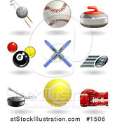 Vector Illustration of Golf Ball with Clubs, Baseball, Curling Stone, Pool Balls, Skis, Fast Tire, Hockey Puck, Tennis Ball and Boxing Glove by AtStockIllustration