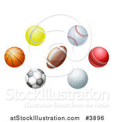 Vector Illustration of Golf Cricket Soccer Football Baseball Basketball and Tennis Balls by AtStockIllustration