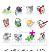 Vector Illustration of Gps, Audio, News, Alarm Clock, Calendar, Security, Weather, Checklist, Gears, Megaphone, Solutions and Email by AtStockIllustration