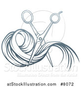 Vector Illustration of Gradient Blue Scissors Cutting Hair by AtStockIllustration