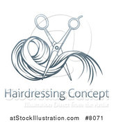 Vector Illustration of Gradient Blue Scissors Cutting Hair over Sample Text by AtStockIllustration