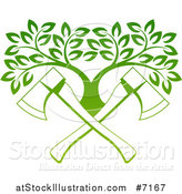 Vector Illustration of Gradient Green Crossed Axes and a Tree by AtStockIllustration