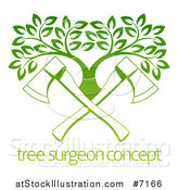 Vector Illustration of Gradient Green Crossed Axes and a Tree over Sample Text by AtStockIllustration