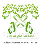 Vector Illustration of Gradient Green Crossed Chainsaws and a Tree over Sample Text by AtStockIllustration