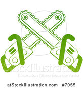 Vector Illustration of Gradient Green Crossed Chainsaws by AtStockIllustration