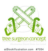 Vector Illustration of Gradient Green Crossed Chainsaws over Tree Surgeon Sample Text by AtStockIllustration