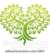 Vector Illustration of Gradient Green Heart Shaped Tree by AtStockIllustration