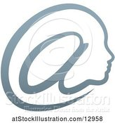 Vector Illustration of Gradient Profiled Face in an Email Arobase at Symbol by AtStockIllustration