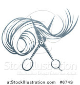 Vector Illustration of Gradient Scissors Cutting Hair by AtStockIllustration