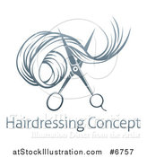 Vector Illustration of Gradient Scissors Cutting Hair over Sample Text by AtStockIllustration
