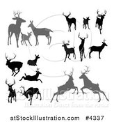 Vector Illustration of Gray and Black Silhouetted Deer Stags Bucks Does and Fawns by AtStockIllustration