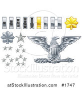Vector Illustration of Gray and Yellow Military American Army Officer Ranks Insignia Icons by AtStockIllustration