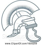 Vector Illustration of Gray Trojan Spartan Helmet by AtStockIllustration