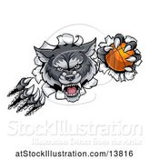 Vector Illustration of Gray Wolf Slashing Through a Wall with a Basketball by AtStockIllustration