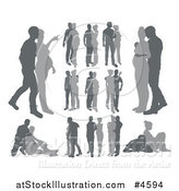 Vector Illustration of Grayscale Pregnant Couple Silhouettes by AtStockIllustration
