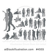 Vector Illustration of Grayscale Silhouetted Couples by AtStockIllustration