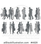 Vector Illustration of Grayscale Silhouetted Couples Shopping by AtStockIllustration