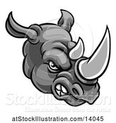 Vector Illustration of Grayscale Tough Rhinoceros Sports Mascot Head by AtStockIllustration