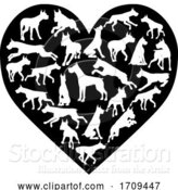 Vector Illustration of Great Dane Dog Heart Silhouette Concept by AtStockIllustration