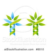 Vector Illustration of Green and Blue Dna Double Helix Tree Designs by AtStockIllustration